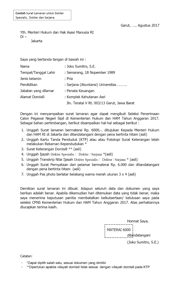 Contoh Surat Lamaran Kerja Bersifat Resmi   Kotasurat.com
